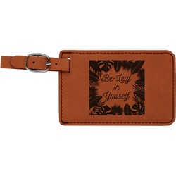 Tropical Leaves Border Leatherette Luggage Tag (Personalized)