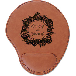 Tropical Leaves Border Leatherette Mouse Pad with Wrist Support (Personalized)