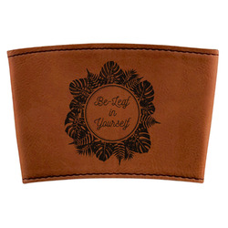 Tropical Leaves Border Leatherette Cup Sleeve (Personalized)