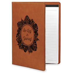 Tropical Leaves Border Leatherette Portfolio with Notepad (Personalized)