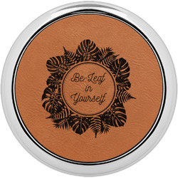 Tropical Leaves Border Leatherette Round Coaster w/ Silver Edge - Single or Set (Personalized)