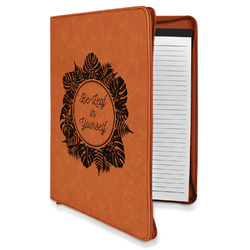 Tropical Leaves Border Leatherette Zipper Portfolio with Notepad (Personalized)