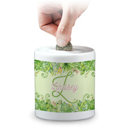 Tropical Leaves Border Coin Bank (Personalized)