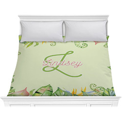 Tropical Leaves Border Comforter - King (Personalized)