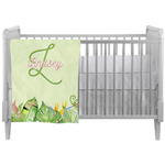Tropical Leaves Border Crib Comforter / Quilt (Personalized)