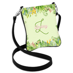 Tropical Leaves Border Cross Body Bag - 2 Sizes (Personalized)
