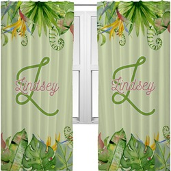 Tropical Leaves Border Curtains (2 Panels Per Set) (Personalized)