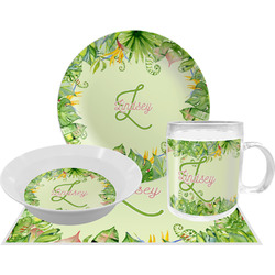 Tropical Leaves Border Dinner Set - 4 Pc (Personalized)