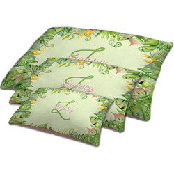 Tropical Leaves Border Dog Bed w/ Name and Initial