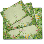 Tropical Leaves Border Dog Food Mat w/ Name and Initial