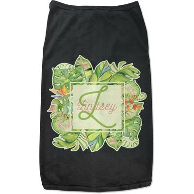 Tropical Leaves Border Black Pet Shirt (Personalized)