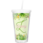 Tropical Leaves Border Double Wall Tumbler with Straw (Personalized)