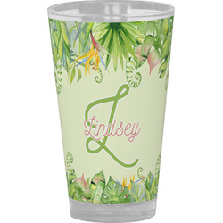 Tropical Leaves Border Drinking / Pint Glass (Personalized)
