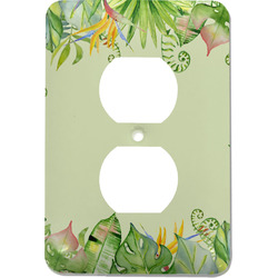 Tropical Leaves Border Electric Outlet Plate (Personalized)