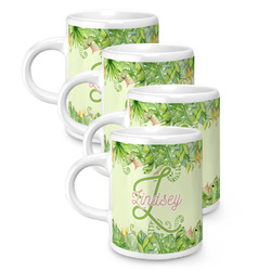 Tropical Leaves Border Espresso Mugs - Set of 4 (Personalized)