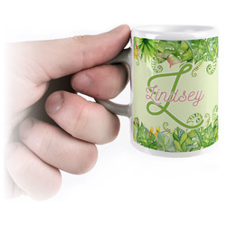 Tropical Leaves Border Espresso Mug - 3 oz (Personalized)