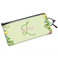 Tropical Leaves Border Genuine Leather Eyeglass Case (Personalized)