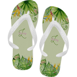 Tropical Leaves Border Flip Flops (Personalized)
