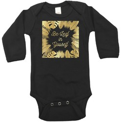 Tropical Leaves Border Foil Bodysuit - Long Sleeves - Gold, Silver or Rose Gold (Personalized)