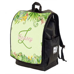 Tropical Leaves Border Backpack w/ Front Flap  (Personalized)