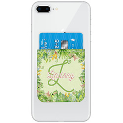Tropical Leaves Border Genuine Leather Adhesive Phone Wallet (Personalized)