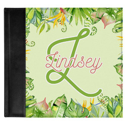 Tropical Leaves Border Genuine Leather Baby Memory Book (Personalized)