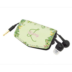 Tropical Leaves Border Genuine Leather Cord Wrap (Personalized)