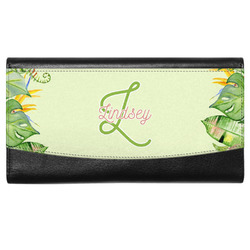 Tropical Leaves Border Genuine Leather Ladies Wallet (Personalized)