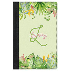 Tropical Leaves Border Genuine Leather Passport Cover (Personalized)