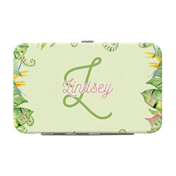 Tropical Leaves Border Genuine Leather Small Framed Wallet (Personalized)