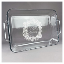 Tropical Leaves Border Glass Baking and Cake Dish (Personalized)