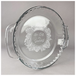 Tropical Leaves Border Glass Pie Dish - 9.5in Round (Personalized)