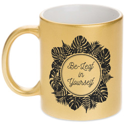 Tropical Leaves Border Gold Mug