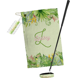 Tropical Leaves Border Golf Towel Gift Set (Personalized)