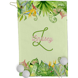 Tropical Leaves Border Golf Towel - Full Print (Personalized)