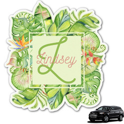 Tropical Leaves Border Graphic Car Decal (Personalized)