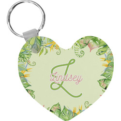 Tropical Leaves Border Heart Keychain (Personalized)