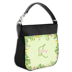 Tropical Leaves Border Hobo Purse w/ Genuine Leather Trim w/ Name and Initial