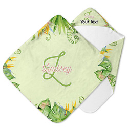 Tropical Leaves Border Hooded Baby Towel (Personalized)