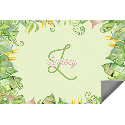 Tropical Leaves Border Indoor / Outdoor Rug (Personalized)