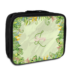 Tropical Leaves Border Insulated Lunch Bag (Personalized)