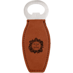 Tropical Leaves Border Leatherette Bottle Opener (Personalized)