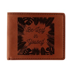 Tropical Leaves Border Leatherette Bifold Wallet (Personalized)