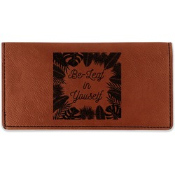 Tropical Leaves Border Leatherette Checkbook Holder (Personalized)