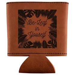 Tropical Leaves Border Leatherette Can Sleeve (Personalized)