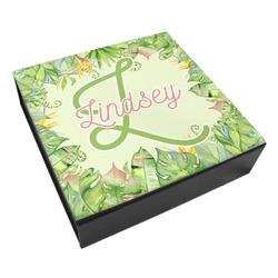 Tropical Leaves Border Leatherette Keepsake Box - 3 Sizes (Personalized)