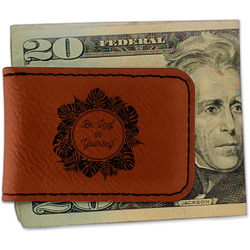Tropical Leaves Border Leatherette Magnetic Money Clip (Personalized)