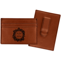 Tropical Leaves Border Leatherette Wallet with Money Clip (Personalized)