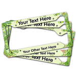 Tropical Leaves Border License Plate Frame (Personalized)