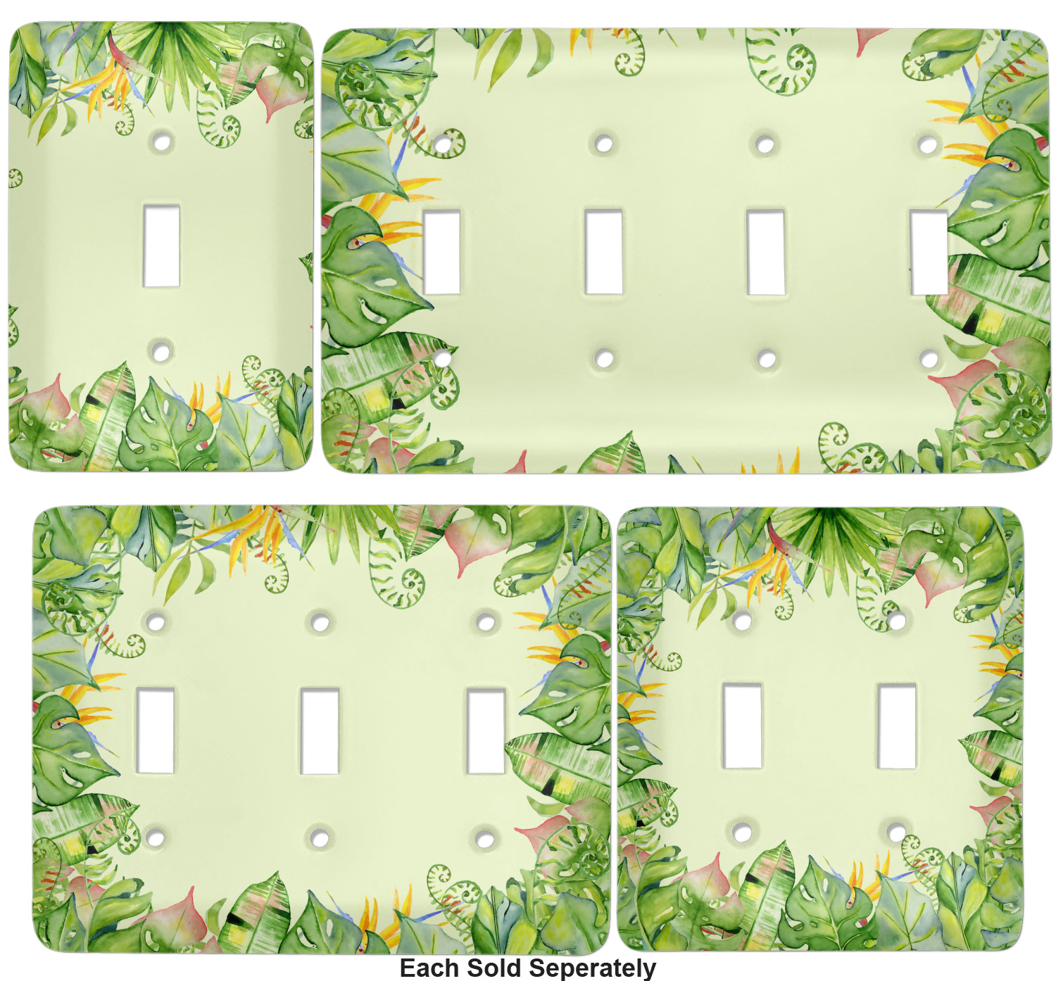 Tropical Leaves Border Light Switch Cover Single Toggle